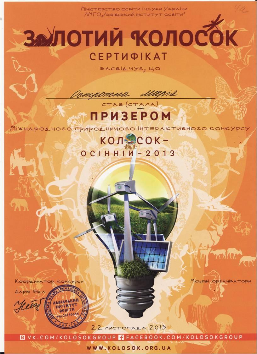 золотой сертифика конкурса Колосок
